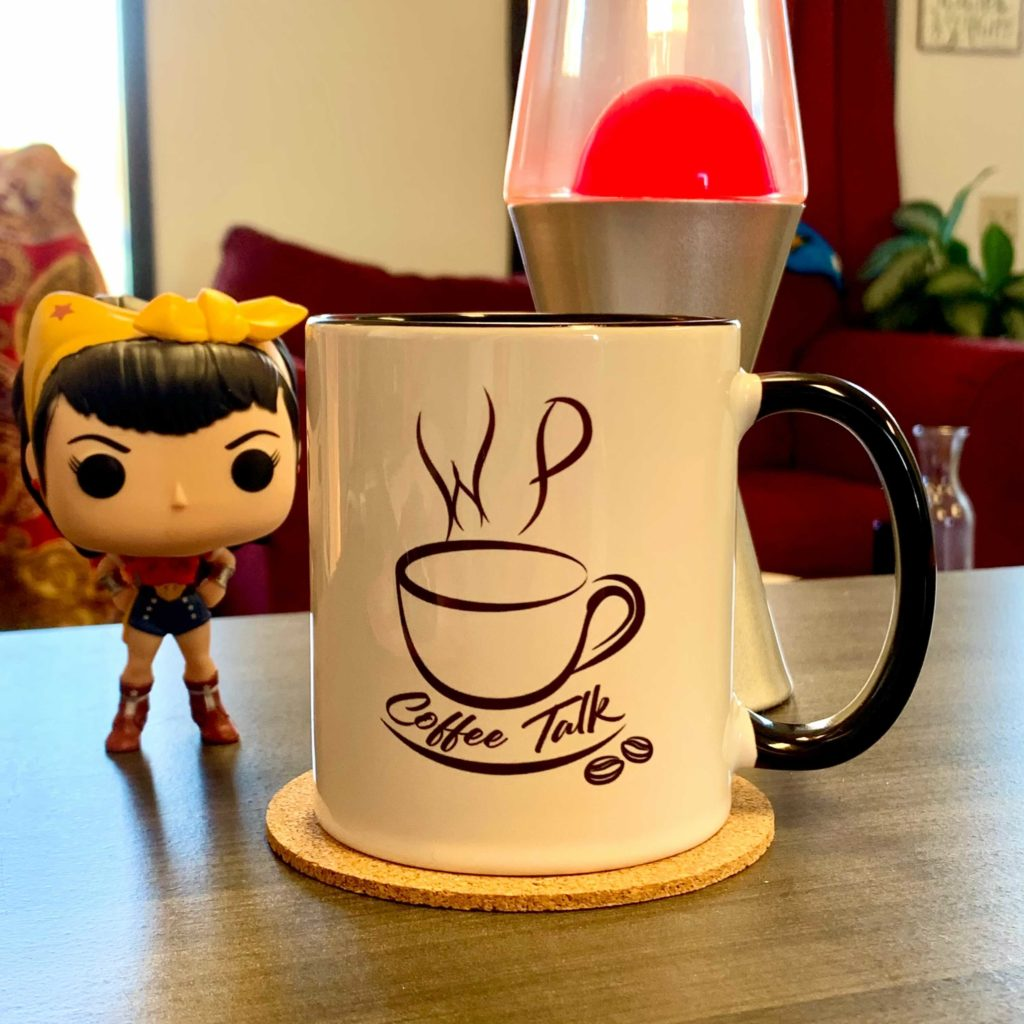 WPCoffeeTalk Mug with WonderWoman and lava lamp